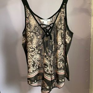 Urban Planet black and pink paisley chiffon tank